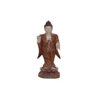 Handmade Buddha Standing on Lotus Statue