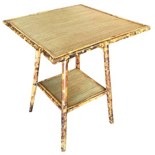 Tiger Bamboo Pedestal Side Table with Large Top