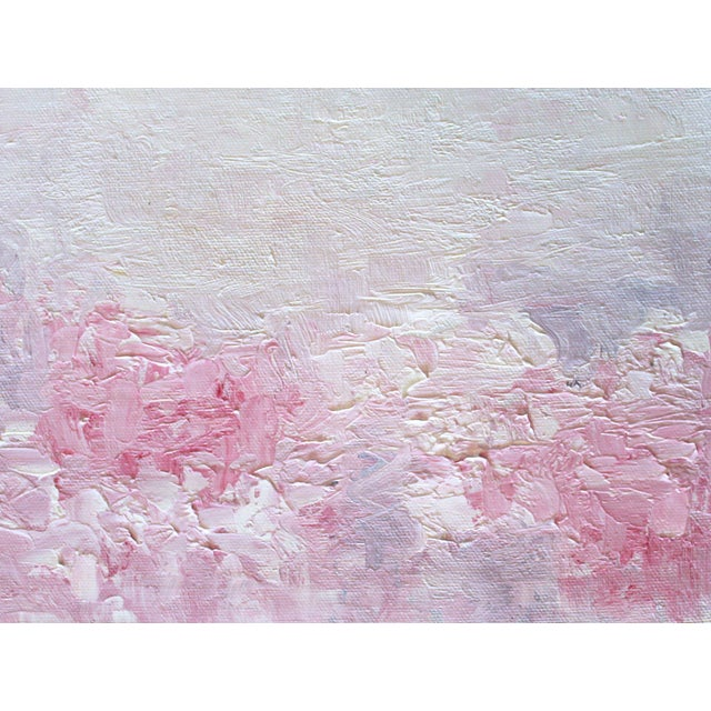 Pink Posies Abstract Impasto Oil Painting - Image 1 of 3