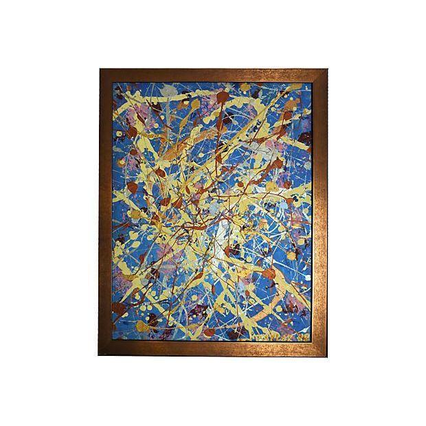 Image of Vintage Pollock-Inspired Abstract Painting