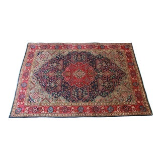 Vintage Hand-woven Navy Blue, Teal, & Raspberry Pink Persian Tabriz Rug