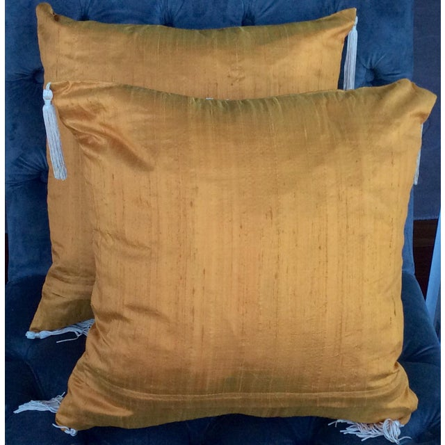 Embroidered Silk Accent Pillow Covers - A Pair - Image 4 of 4