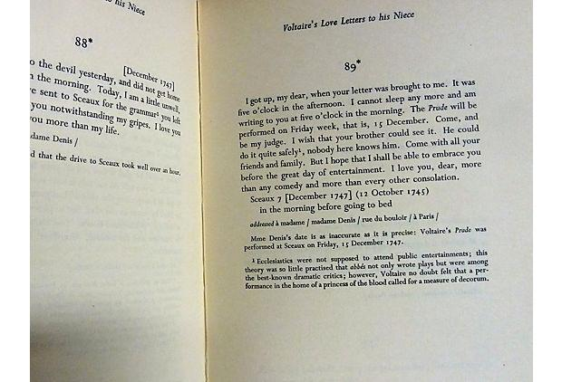 """the love letters of voltaire to his niece"""" vintage 1958 book"""