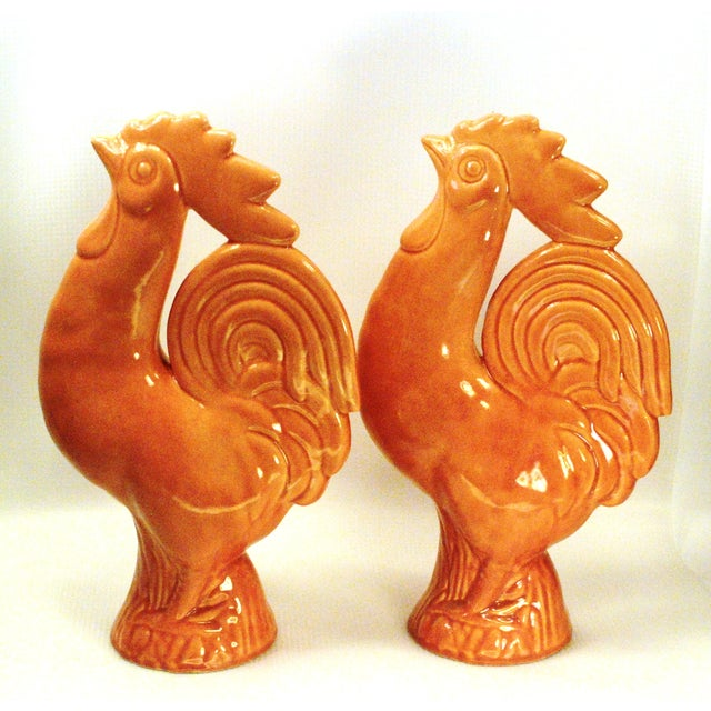 La Mirada Pottery Salmon Pink Roosters - A Pair - Image 4 of 10