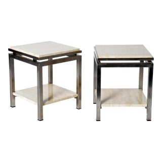 Pair of Two-Tier Travertine Side Tables in the Style of Guy Lefevre For Maison Jansen
