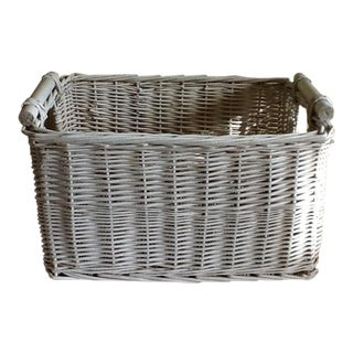 Large White Wicker Wood Basket