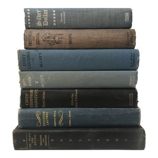Collection of Vintage & Antique Books in Navy Blue - Set of 7
