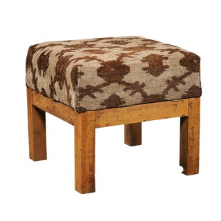 Turkish Brown Wool Upholstered Stool over Old Wood Base with Straight Legs