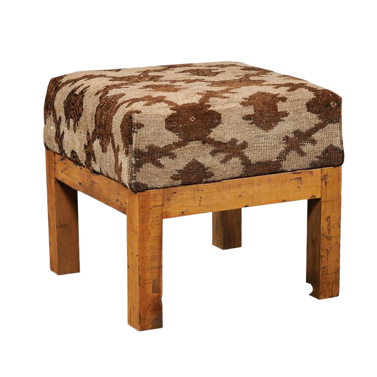 turkish brown wool upholstered stool over old wood base with straight legs image 1 of