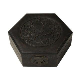 Chinese Huali Rosewood Dark Brown Hexagon Handcrafted Storage Box