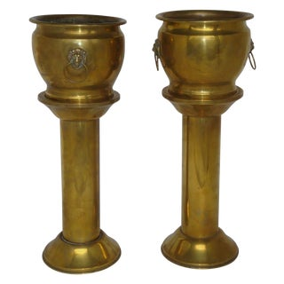 Antique Brass Planter Jardinieres & Pedestals - a Pair