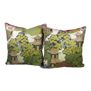 Brocade Chinoiserie Pillows - A Pair