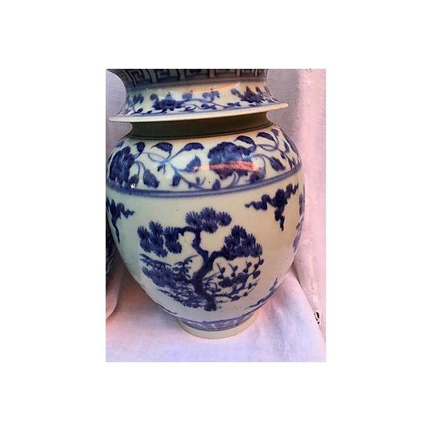 Image of Blue & White Pagoda Ginger Jars - Pair