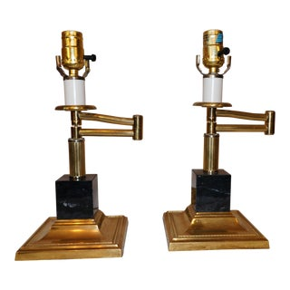 Marble & Brass Swing Arm Table Lamps - A Pair
