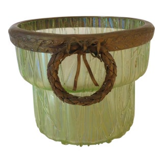 Loetz Iridescent Tree Bark Vase With Metal Wreath Collar