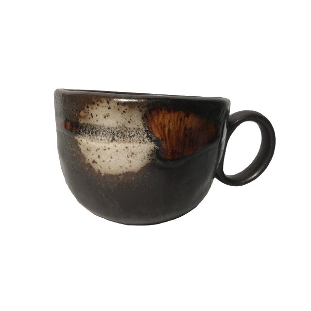 Vintage Handmade Pottery Coffee Cups - Pair - Image 2 of 4