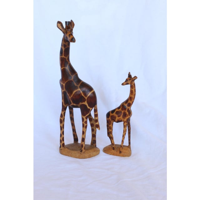 Image of Kenyan Hand Carved Wood Giraffes - A Pair