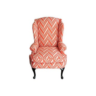 Coral & Ivory Wingback Chair