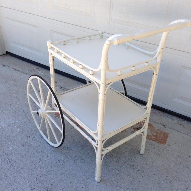 Vintage Heywood-Wakefield Wicker Bar Cart - Image 3 of 6