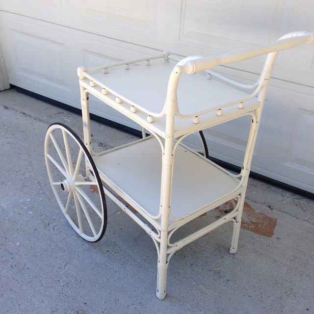 Image of Vintage Heywood-Wakefield Wicker Bar Cart