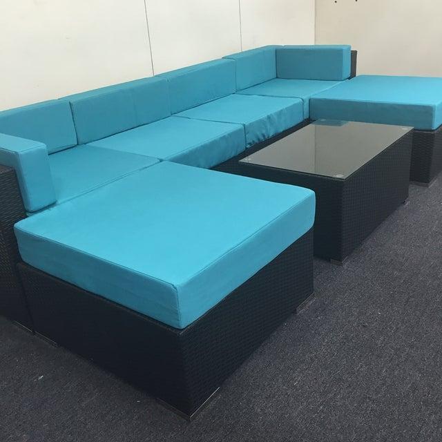 Turquoise Wicker Patio Set - Image 4 of 9