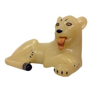 Vintage Hand-Painted Lion Sculpture