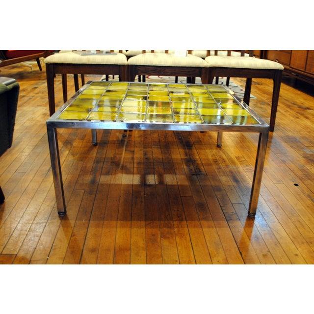 Tile and Chrome Danish Modern Coffee Table - Image 2 of 8