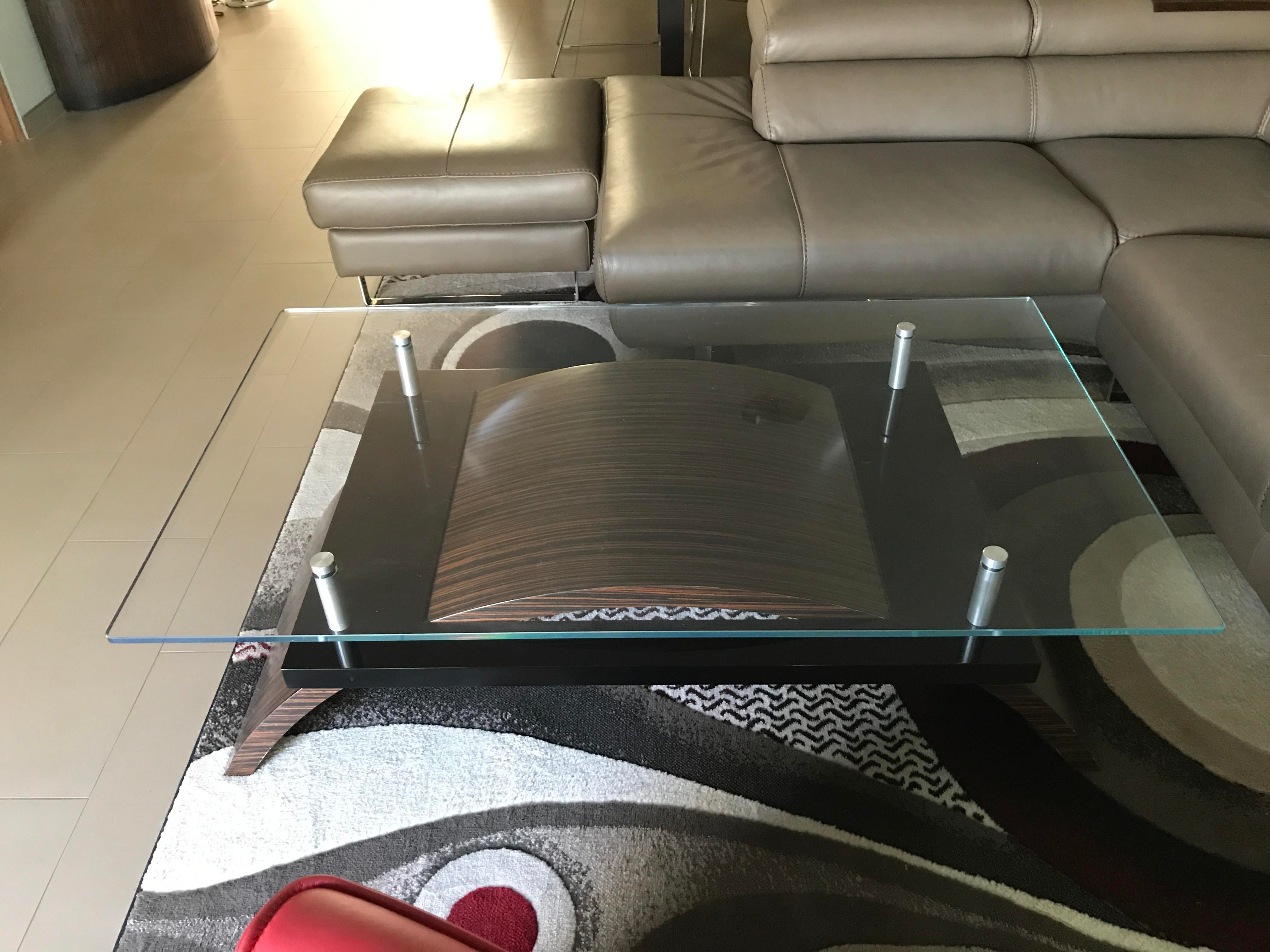 Macassar Ebony Contemporary Glass Cocktail Table   Image 4 Of 10