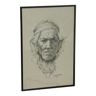 Vintage Original Sketch of Native Southwestern Man 1980 Signed John P Mullins
