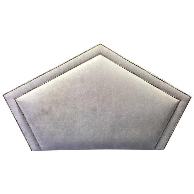 Queen Grey Upholstered Headboard, Nailhead Trim - Image 1 of 6