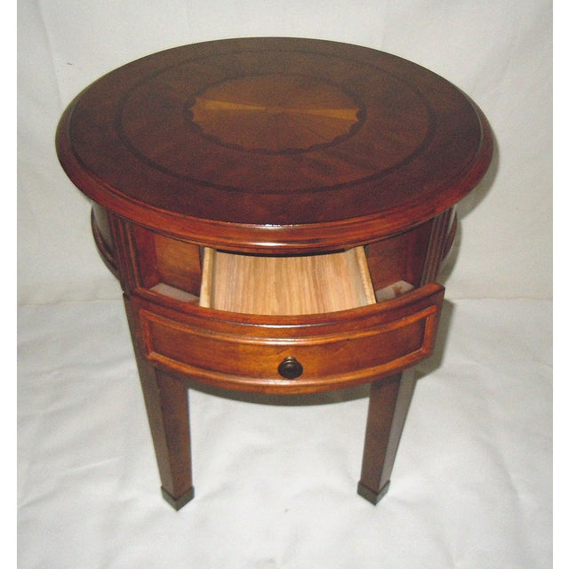 Image of Round Side Table with Inlaid Top