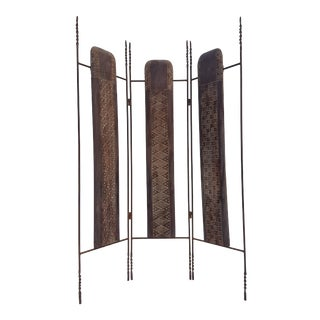 Vintage Metal & Carved Wood Panels Room Divider Screen
