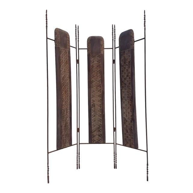 Vintage Metal & Carved Wood Panels Room Divider Screen - Image 1 of 9