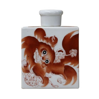 Foo Dog Porcelain Tea Jar