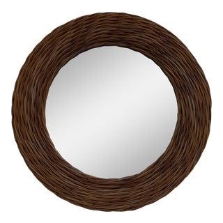 Vintage Hand-Woven Rattan Round Wall Mirror.