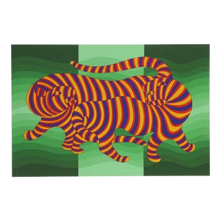 Two Tigers on Green by Victor Vasarely