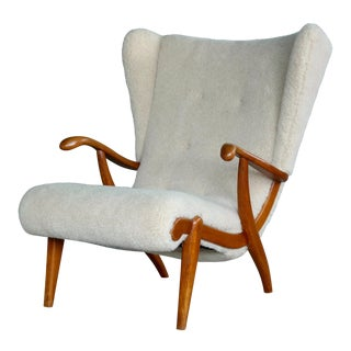Svend Skipper Attributed Pappa Bear Style Easy Chair Covered in Lambswool