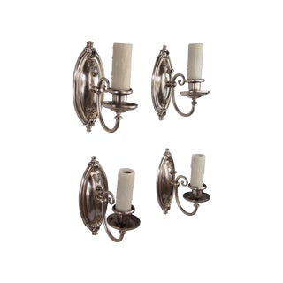 Antique 1920s Silverplated Wall Sconces - Set of 4
