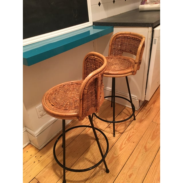 Tony Paul Style Vintage Rattan & Bamboo Swivel Bar Stools- A Pair - Image 4 of 5