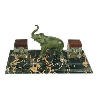 Elephant Inkwell on Marble -- de la France, Naturellement