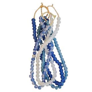 Blue & Ice Tumbled Glass Beads- Set of 4