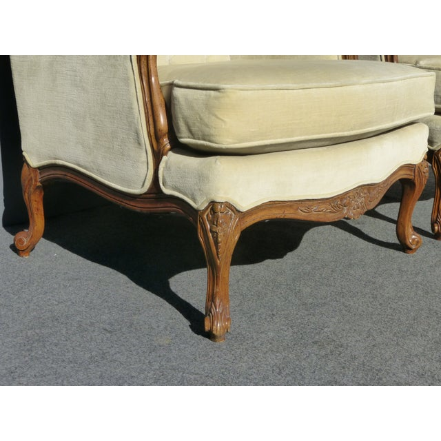 Pair of Bernhardt Tufted Wing Back Velvet Chairs - Image 10 of 11