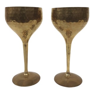 Solid Brass Hammered Wine Goblets - a Pair