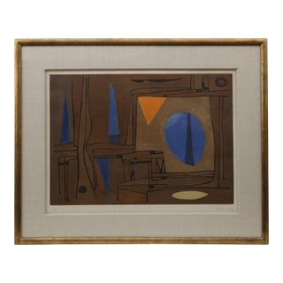 1960s Brown, Blue, and Orange Abstract Painting