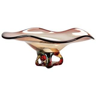 Mid-Century Murano Glass Fluted Amethyst Bowl