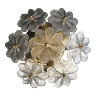 Small Ernst Palme Floral Glass Flush Mount Sconce
