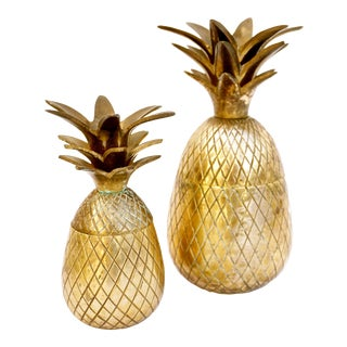 Vintage Brass Pineapple Jars - A Pair