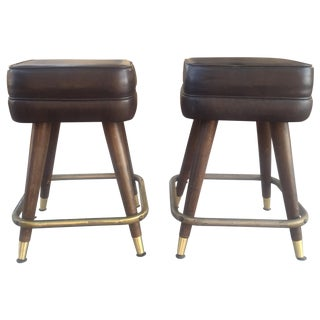 Vintage MCM Bar Stools With Brass Feet - Pair