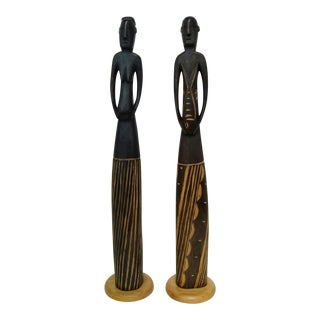 African Wood Figurines - a Pair