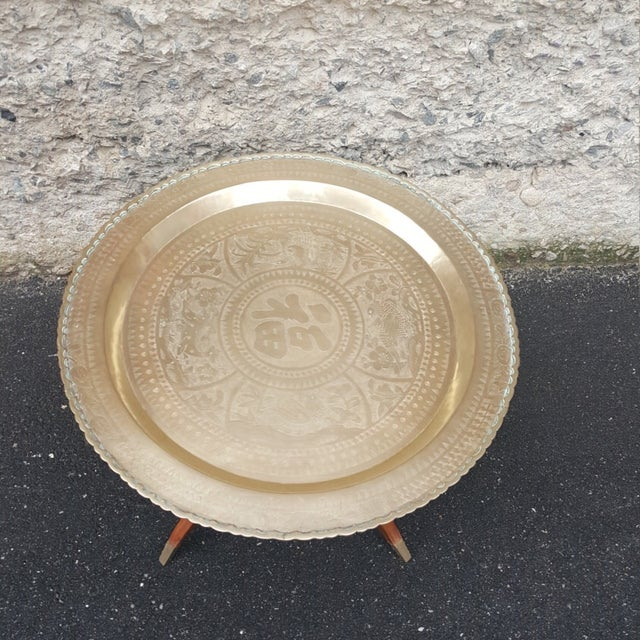 Vintage 1950's Chinoiserie Moroccan Brass Table - Image 3 of 4